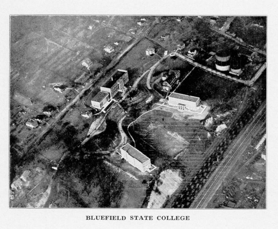 black and white photo of Bluefield State College library