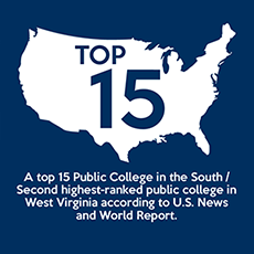 Top 15 Public College in the south / second highest-ranked public college in West Virginia according to U.S. News and World Report.