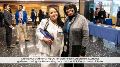 Four Bluefield State College students attended the 2021 U.S. State Department HBCU Foreign Policy Conference, which was held virtually because of the COVID-19 pandemic.  Pictured at last year's Conference is BSC student Beverly Owensby Briggs (left) with a US State Department representative during the 2020 annual U.S. State Department Foreign Policy. Conference.