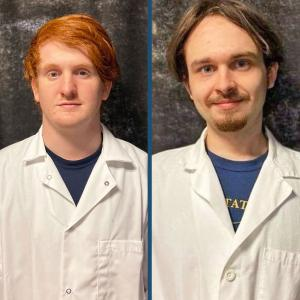 "The research project of Bluefield State College students Dakota Parnell (left) and Jesse Orell (right) was selected as ""First Runner-Up"" in the ""Biological and Biochemical Sciences Category"" at the recent Undergraduate Research Day at the Capitol program in Charleston."