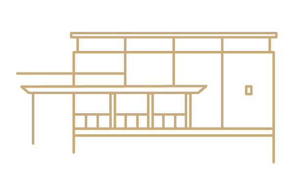 Ned Shott Physical Education building (line art)