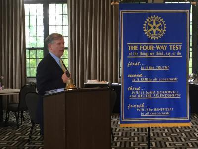 Bluefield State College President Robin Capehart was the program speaker at the May 14 meeting of the Beckley Rotary Club.