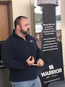 Jason McCown, Warrior Met Coal Company Human Resource Director, discussed Warrior Met's career and summer internship opportunities with BSC engineering technology students on November 21
